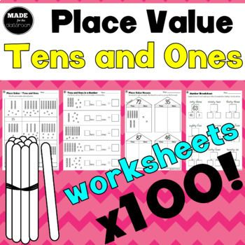 100 worksheets for teaching tens and ones place value! Click the preview button to view the full contents! WHAT'S INCLUDED: Note: x5 indicates 5 repeats of a worksheet, with different numbers to work with Part 1 - Unifix Cubes * Tens and ones in a number