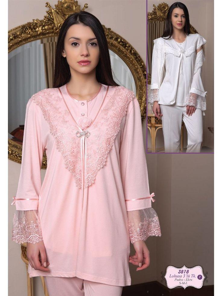 Bone 3818Hamile Pijama Sabahlık Takım; Penye kumaştan üretilen hamile pijama sabahlık takım modelidir.
