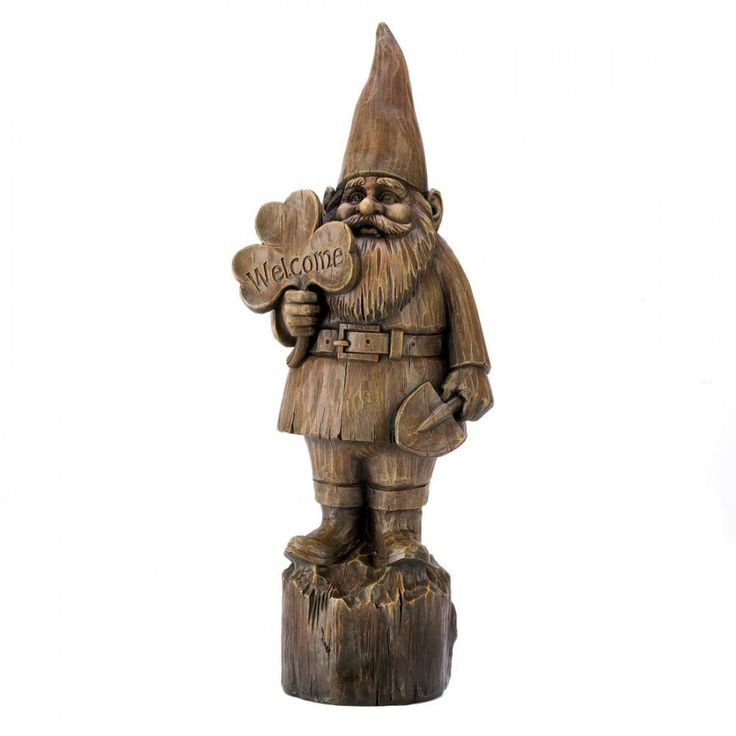 """welcome gnome statue  Wherever you roam, you'll get a warm welcome home when you're greeted by this cheerful #gnome! #Rustic #faux wood statue makes a fanciful folk art addition to your porch or garden. Weight 4.4 lbs. 8"""" x 6¼"""" x 20¼"""" high. Polyresin."""