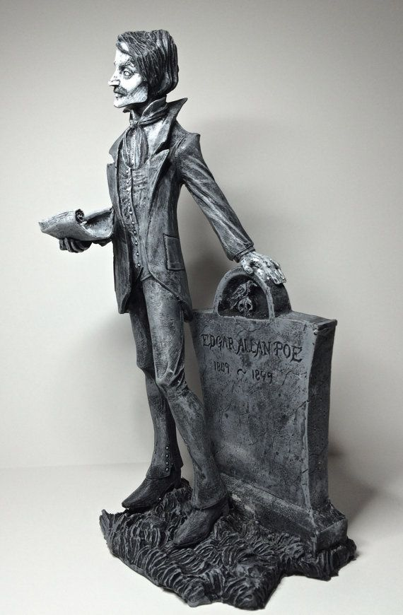 10 tall sculpture of Edgar Allan Poe, based on Abigail Larsons artwork cast in resin and hand painted