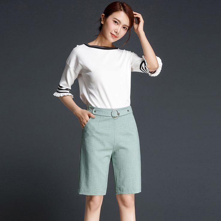 2017 autumn high waist Capris women short wide leg skirt Capris woman pantalones Capris femininol black grey army green brown #Affiliate