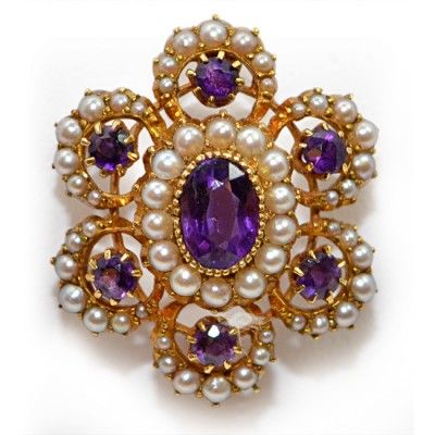 Victorian Amethysts Brooch with Natural Pearls, 15ct     LR Antiques
