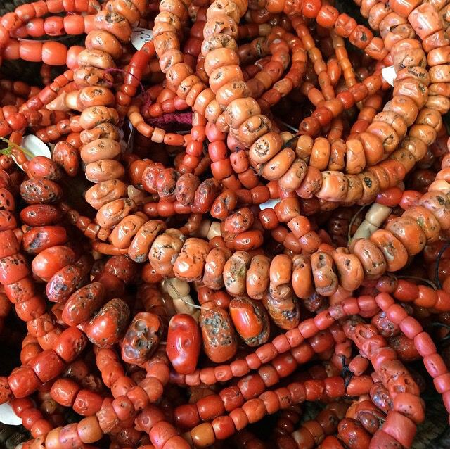 Antique natural red coral beads.