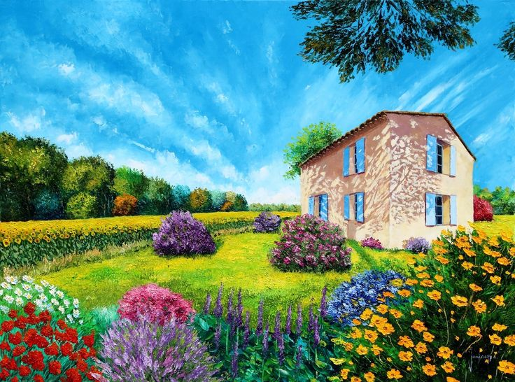 """""""Flowered garden"""" 60x80 cm"""
