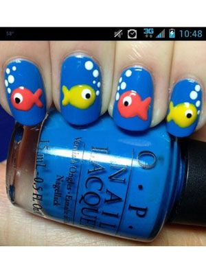 Sydney's adorable fish nails reminded us to just keep swimming through our #manicuremonday!
