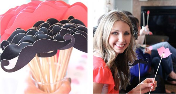 Mustaches or lips for a bride/groom trivia!