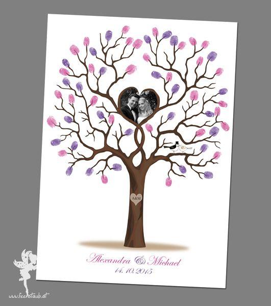 hochzeitsbaum wedding tree leinwand papier b ume. Black Bedroom Furniture Sets. Home Design Ideas