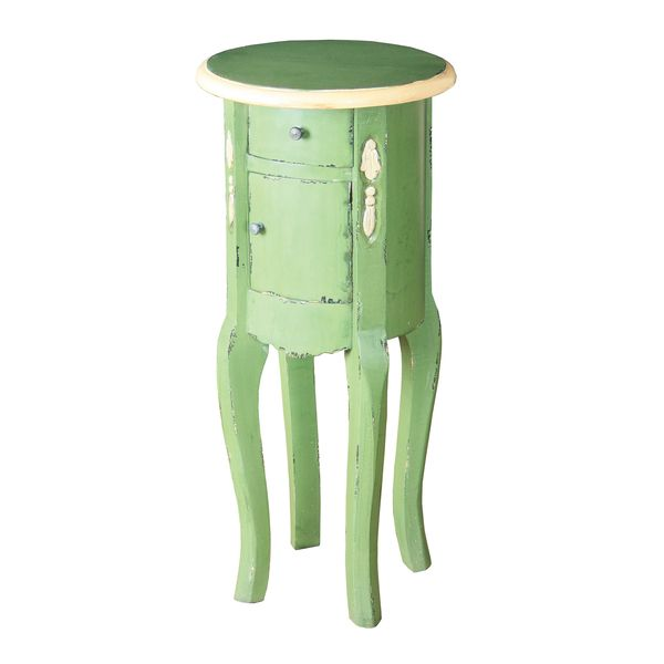 Distressed Green Finish Round Accent Table With Cream Trim   Overstock™  Shopping   Great Deals