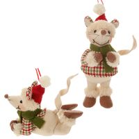 Christmas mice plush ornaments.  Set of 2 little white mice dressed in Christmas…