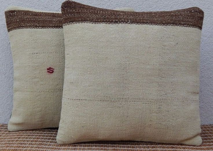 16x16'' Square Natural Color Cream Kilim Pillows,Set of 2,Undyed Wool Cushions #Handmade