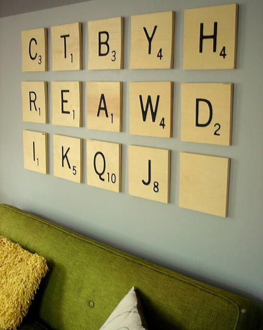 How to make jen39s diy oversized scrabble tile art for Large scrabble letters wall decor