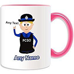 Personalised Gift - Police Community Support Officer Mug (Police Design Theme, Colour Options) - Any Name / Message on Your Unique - PCSO - Blonde / Yellow Hair Policewoman Hat Cap by UniGift