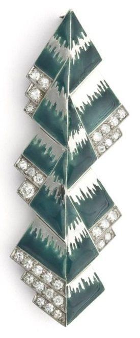 Raymond Templier - An Art Deco platinum, enamel and diamond brooch, Paris, circa 1925. Exhibited at l'Exposition Internationale des arts décoratifs et industriels modernes in Paris. #Templier #ArtDeco #brooch