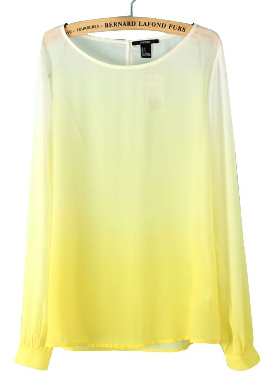 Yellow Gradual Change Long Sleeve Chiffon Blouse - Sheinside.com