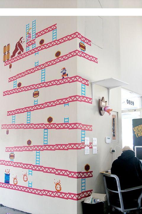 Donkey Kong ~ Re-Stik | I'm still a kid at heart!Wall Art, Ideas, Games Room, Donkeykong, Geek Gift, Wall Decals, Kong Wall, Donkeys Kong, Donkey Kong