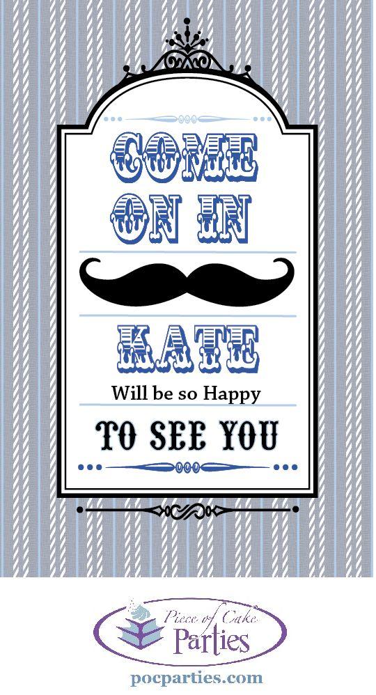 Mustache shower door sign