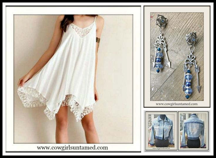 COWGIRL GYPSY DRESS White Chiffon and Lace Handkerchief Hem Mini Dress / Tunic Top / Handmade Blue and Silver Arrow Earrings/ Handmade Embellished Jean Jacket with Sequin Butterfly Back  #dress #lace #sleeveless #casual #summer #style #fashion #cowgirl #gypsy #boho #bohemian #minidress #earrings #blue #white #handmade #jewelry #arrow #silver #jeanjacket #embellished #butterfly