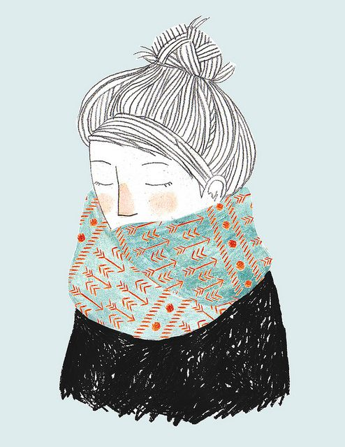 Graphisme, illustration, crayon, motif, cute, fille, froid, hivers