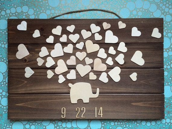 Wooden Elephant Baby shower Guest book - up to 40 hearts - 60 guests - Sign in Rustic guestbook