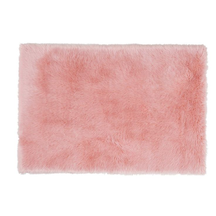 Roze BLUSH tapijt in imitatiebont ... -