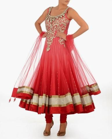 Look stylish and elegant by choosing a coral color bridal wear long #anarkali #salwarkameez for your big day.