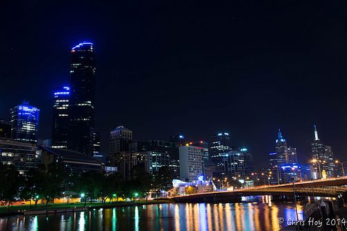 Melbourne skyline and the Yarra River.