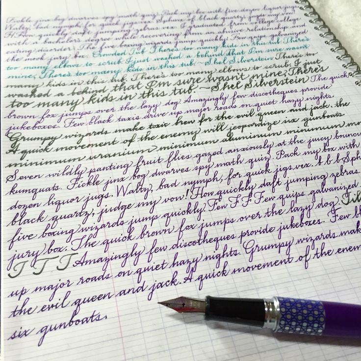 Handwriting practice by wendywander7. Every day I write pangrams and phrases in this French-ruled (or Seyes-ruled) notebook for cursive practice. I learned how to use the lines from a video Kara of @boho.berry posted on her YouTube channel. My cursive proportions and consistency have...