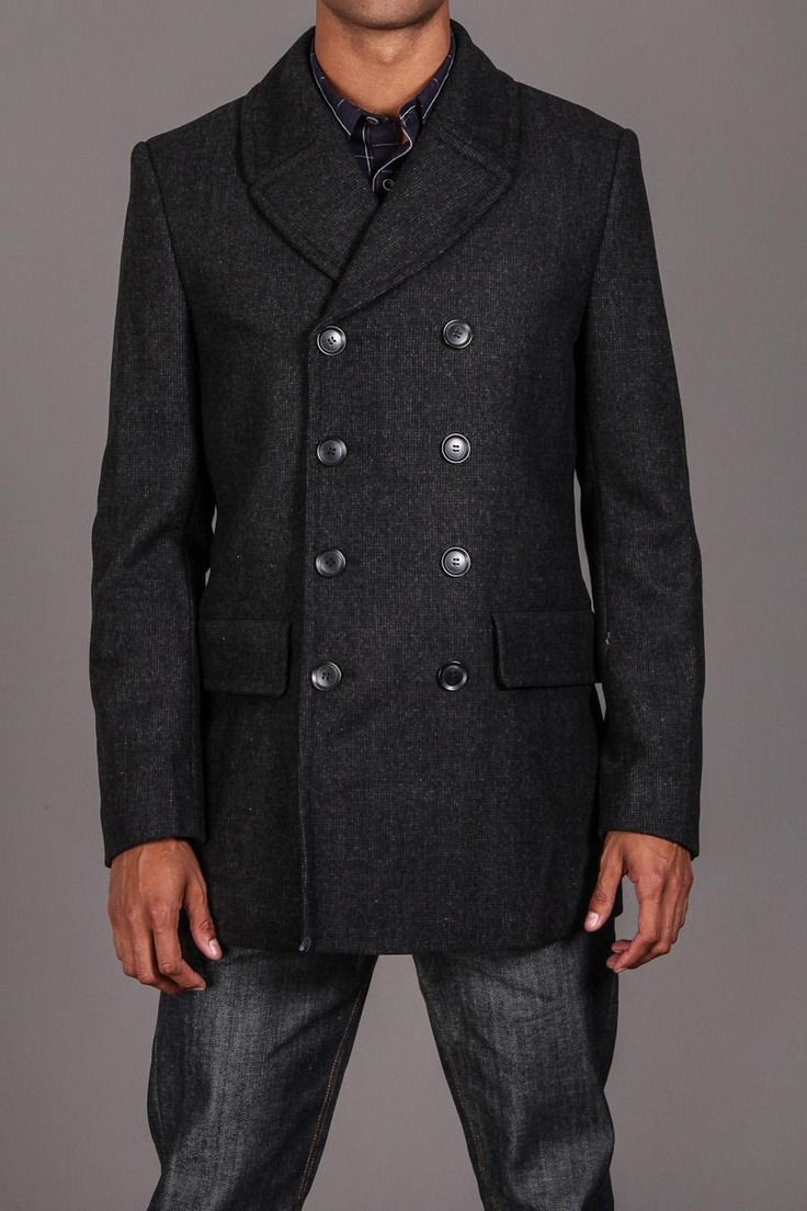 Black Rivet Tweed Pea Coat With Contrast Lining Charcoal