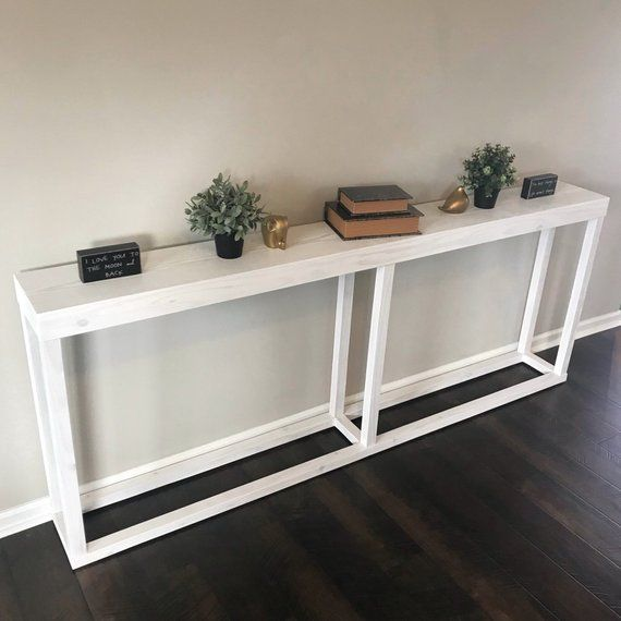 Long Narrow White Console Table Narrow Sofa Table White Console Table Table Behind Couch