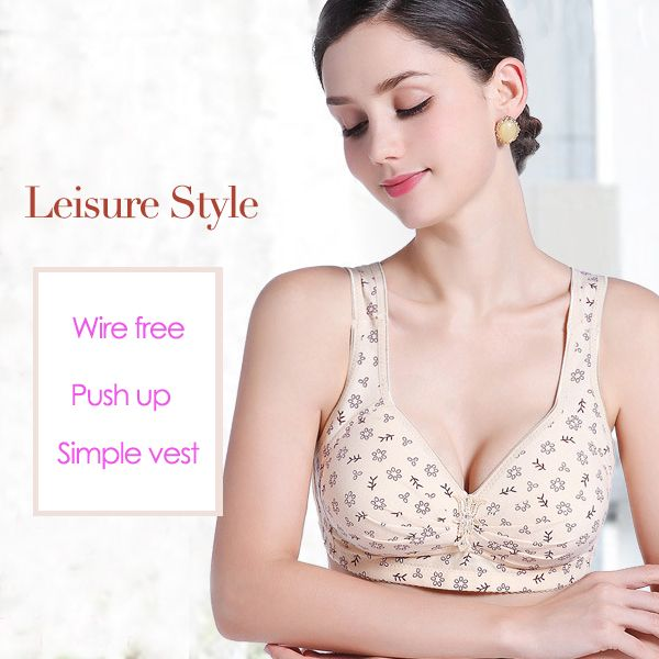 Sexy Soft Busty Cotton Printed Wireless Massage Leisure Gather Bras Newchic Mobile  D0 Bb D0 B0 D1 80 D0 B8 D1 81 D0 B0 Pinterest Cotton Clothes And Printing