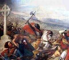 (48) 500 – Durante su largo reinado de treinta años (481–511), Clodoveo I no duda en eliminar cualquier obstáculo a su objetivo de expansión. Conquistó a la mayoría o a todas las tribus francas vecinas a lo largo del río Rin y del río Meno (francos ripuarios) y las incorporó en su reino.
