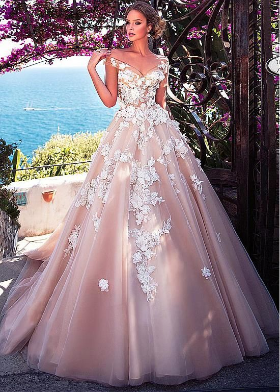 Magbridal Stunning Tulle Off-the-shoulder Neckline See-through Bodice A-Line Wed…