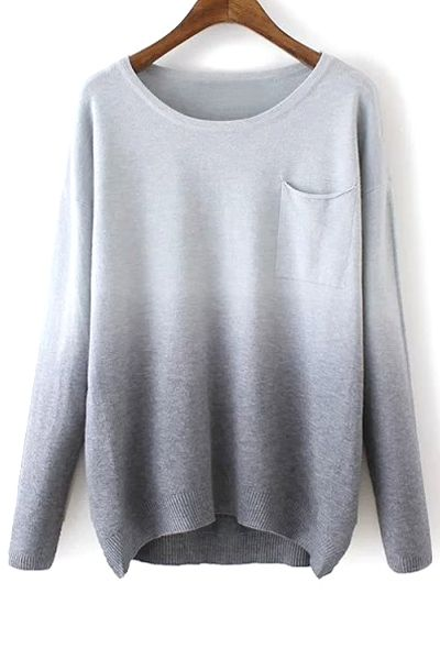 Round Neck Ombre Color Sweater GRAY: Sweaters | ZAFUL
