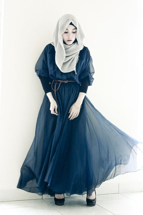 Street Hijab Fashion - I don't like the way the hijaab is styled here (or maybe it's just not how I would style it personally) but I love the evocative, fairy-tale feel of the dress and think Hana might wear something like it.