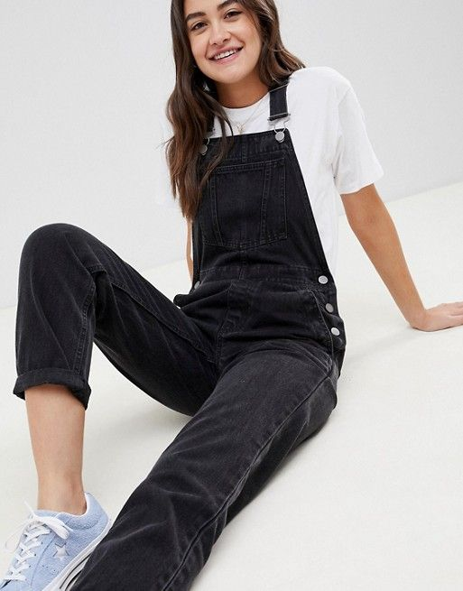 c2222f5e58 DESIGN denim overall in washed black in 2019
