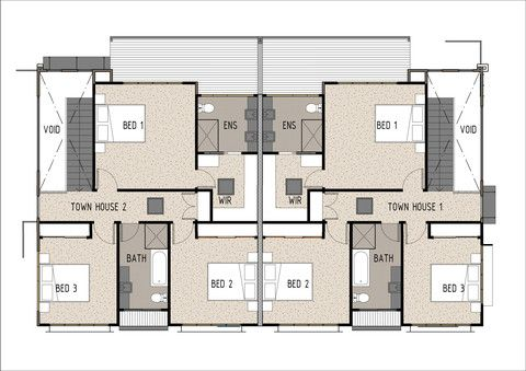 Duplex D3001 - First Floor Plan. This duplex design is for two completely separate townhouses, ideal for developers or dual family/friend living