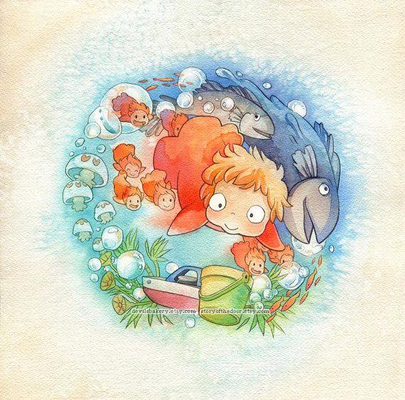 Studio Ghibli Ponyo Sea Sisters Print by storyofthedoor on Etsy