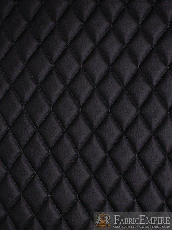 Vinyl Grain Texture Quilted Foam Black Fabric 2 X 3 Diamond With