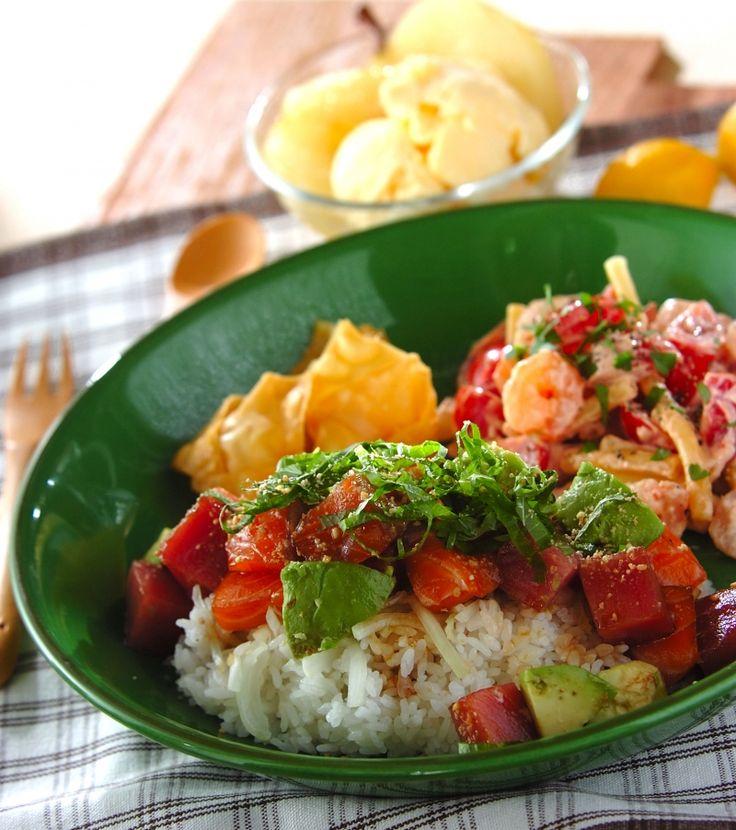 「サーモン入りポキ丼」の献立・レシピ - 【E・レシピ】料理のプロが作る簡単レシピ/2015.11.23公開の献立です。