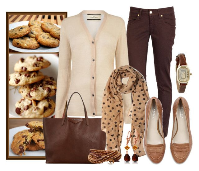 Chocolate Chip by myshoppingcart on Polyvore featuring polyvore, fashion, style, By Malene Birger, MET, Carvela Kurt Geiger, Givenchy, Infinite, Humble Chic, Galaxy Gold, clothing, loafers, cream cardigan, brown tote bag, cookies and autumn