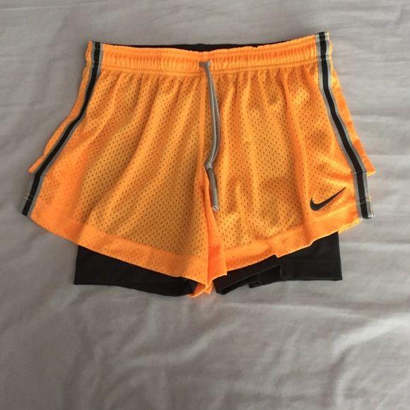 Nike mesh running shorts with built in biker short Cute mesh running shorts oran...