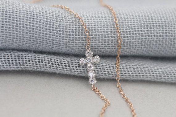 Solid 14k gold diamond cross necklace sideways cross by NOSTALGII