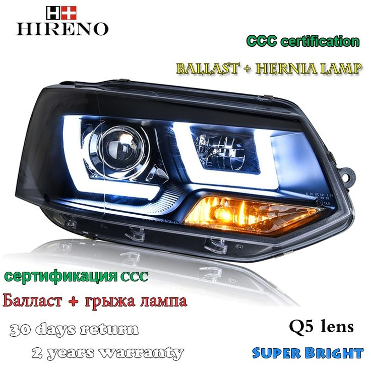 619.99$  Buy here - Hireno Car styling Headlamp for 2012-2016 Volkswagen Multivan T5 Headlight Assembly LED DRL Angel Lens Double Beam HID Xenon 2pc  #aliexpressideas