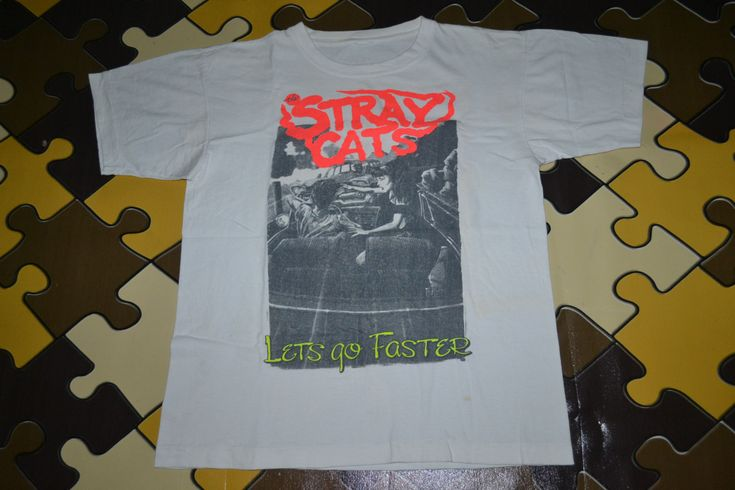 Vintage 1991 The STRAY CATS Lets Go Faster Australia Concert Tour Rockabilly Punk Rock Large Size Rare T-shirt by OldSchoolZone on Etsy