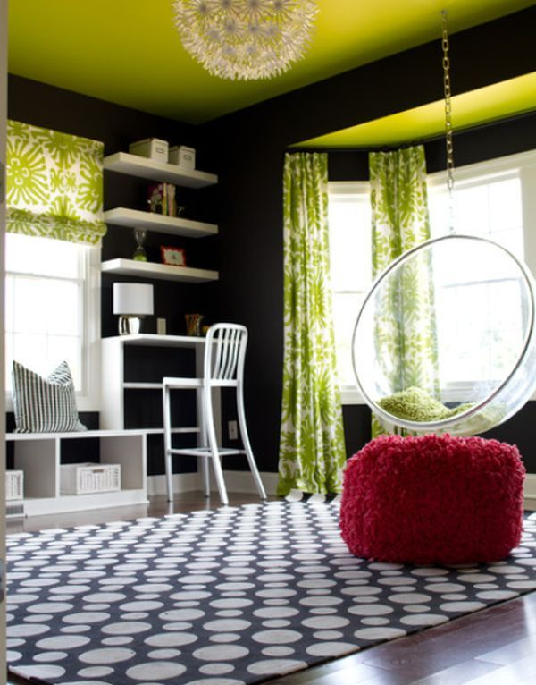 Awesome Living Room Design to Your House: Fantastic Living Room Decoration With Green Bold Accent