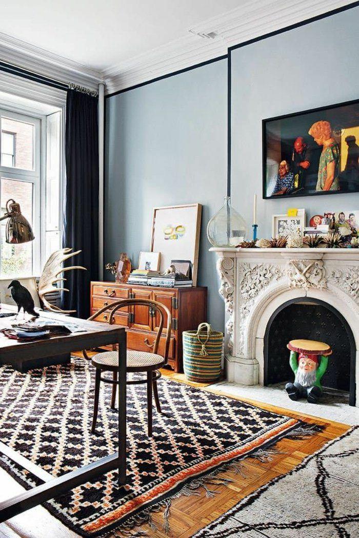 Wohnideen Wohnzimmer Teppiche Kamin Eklektisch