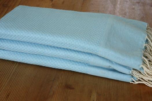 Tunisian Towel Turquoise Bb Crochet Knit Household
