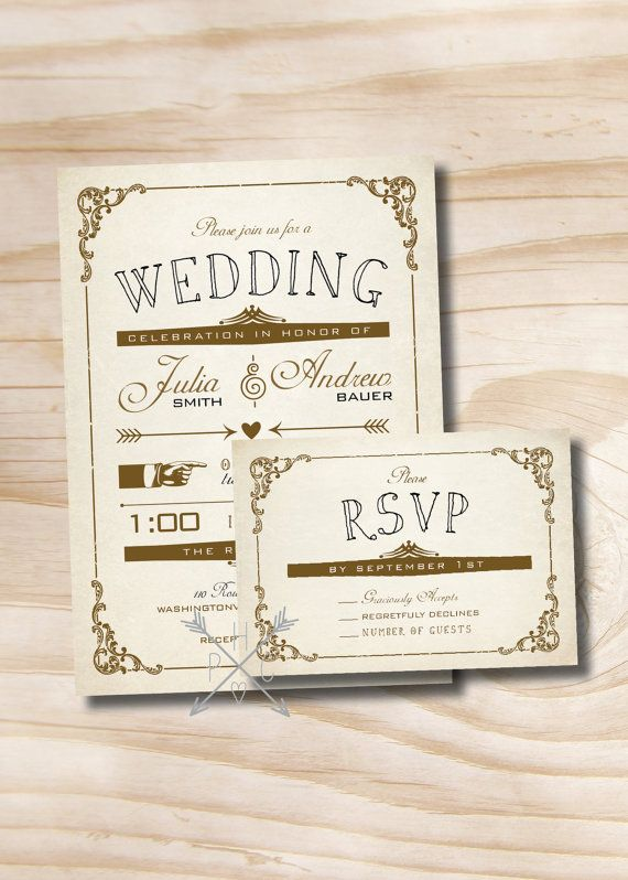 VINTAGE POSTER Style Rustic Wedding Invitation/Response Card - 100 Professionally Printed Invitations & Response Cards