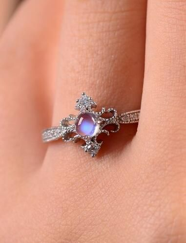 antique art deco blue moonstone promise ring http://www.jewelsin.com/p-delicate-princess-style-art-deco-moonstone-promise-ring-1485