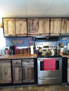 Kitchen Cabinets Using Old Pallets | 101 Pallet Ideas